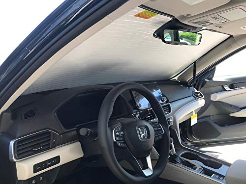The Original Windshield Sun Shade, Custom-Fit for Honda Accord Sedan w/Auto Dimming R.V.M 2018, 2019, Silver Series