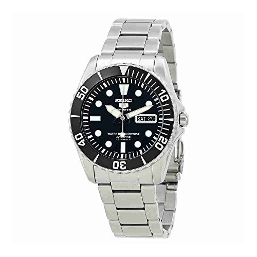 Sport Automatic Diver Watch (Seiko 5 Black Dial Stainless Steel Automatic Mens Watch SNZF17)