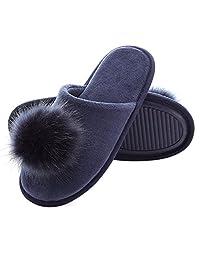 INFLATION Womens Memory Foam Slippers Velvet Slippers Non-Slip Comfort House Slippers