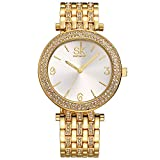 SK Women's Watches Stainless Steel Jewelry Watches Band Round Dial Bracelet.