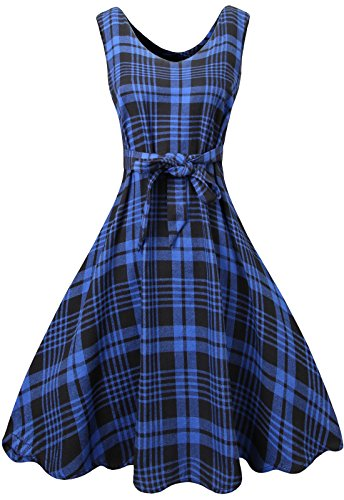 Dress Womens Blue Shirt Mini Casual Black Plaid MIEDEON Swing Stripe zAxOd01qwq