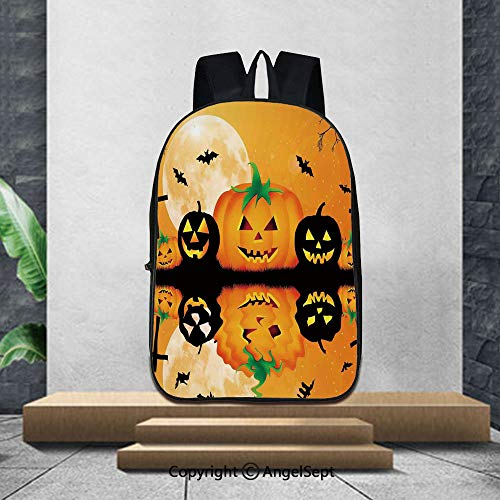 Printed Customized Casual Book Bag,Halloween DecorationsSpooky Carved Halloween Pumpkin Full Moon with Bats and Grave Lake,16.5