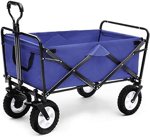 Carrito plegable carro para picnic Carrito de carro plegable para jardín Carro de servicio pesado Carro de compras multifuncional para Al aire libre Cámping pescar Pull Truck Con 4 ruedas, Armada, Car: