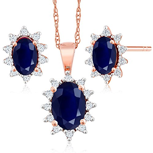 18K Rose Gold 1.31 Ct Oval Blue Sapphire and Diamond Pendant Earrings Set