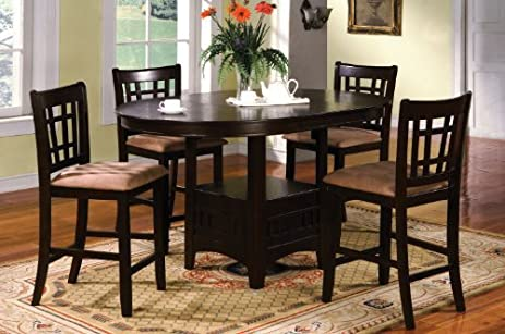 Inland Empire Furniture Metropolis Espresso Solid Wood U0026 Microfiber 5 Piece  Oval Counter Height Dining Set