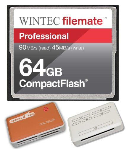 64GB Professional CF Memory Card for Canon EOS 5D Mark II EOS 7D Cameras. Blazing Fast 600X Card with all in one Hot Deals 4 Less Card Reader and Life Time Warranty. by WintecIndustries