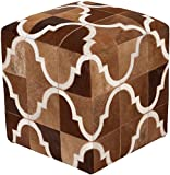 Surya Animal Inspirations Square pouf/ottoman 18''x18''x18'' in Brown Color From Trail Collection