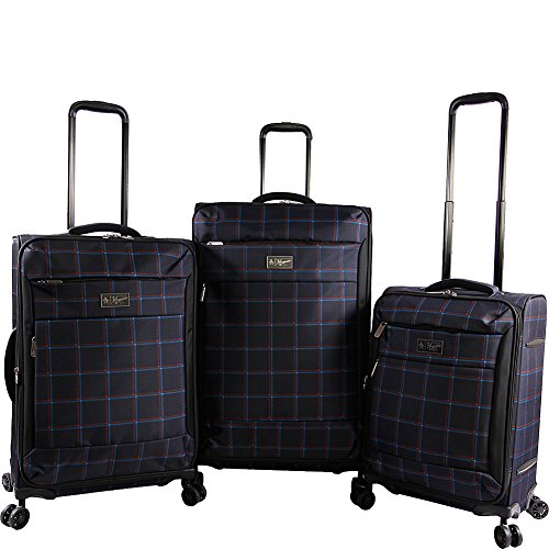 Plaid Sets Luggage (Original Penguin Original 3pc Expandable Suitcase Set with Spinner Wheels, Navy Plaid)