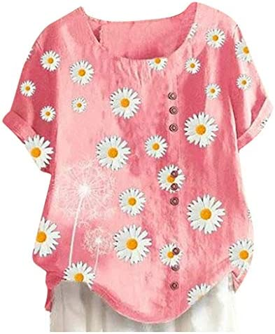 Memela Women Summer Cotton Linen Blouse Women`s Fashion Daisies Printed Plus Size Pullover T Shirts Short Sleeve Loose Tee