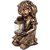 Firefly Catcher Sculpture with Solar Powered LED Light (Sitting Girl)