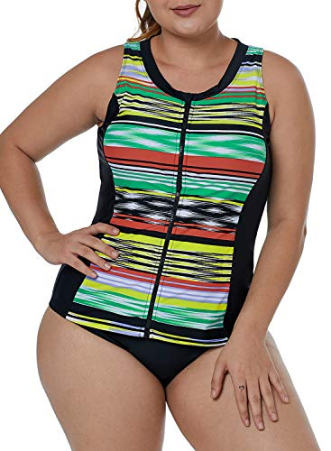 ROSKIKI Womens Zipper Striped Print High Neck Tankini Swim Top Plus Size Athletic Rashguard Swim Shirt No Bottom