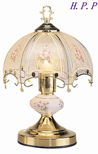 H.P.P. 14.3''H NEW Glass White Glass Floral Touch Table Lamp w/ Gold Finish Base