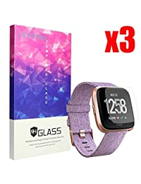 for Fitbit Versa Screen Protector, Lamshaw 9H Tempered Glass for Fitbit Versa Smartwatch (3 Pack)