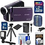 Minolta MN50HD 1080p HD Video Camera Camcorder (Purple) 32GB Card + Battery & Charger + Case + Tripod + Kit
