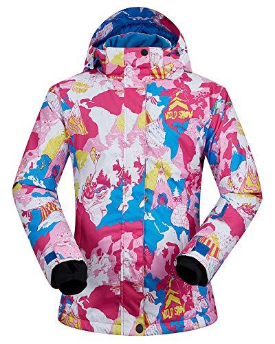 (Women's Ski Jacket Outdoor Waterproof Windproof Coat Snowboard Mountain Rain Jacket SJW008 Snowman Pink XS)