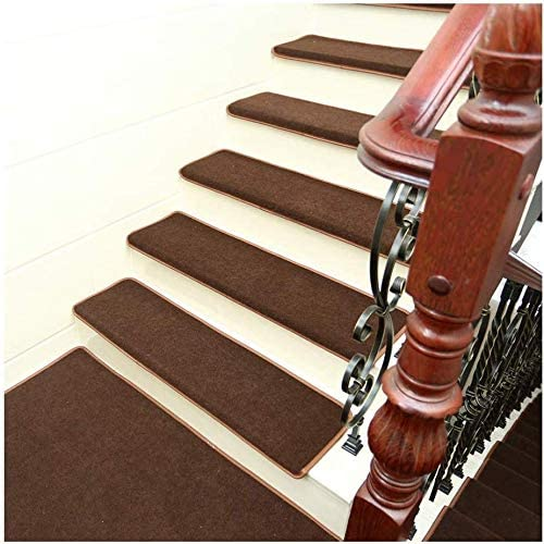 HODUXYME Alfombras de Escalera Antideslizantes Adhesivo Libre Autoadhesivo Pasos de Escalera Tapetes Lavable, Step Pad Extra Espesa para escaleras (36x10/90x24cm),Marrón,Setof15: Amazon.es: Hogar