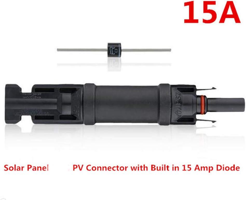 NUZAMAS Set de 2 connecteurs de diode int/égr/ée MC4 Inline 15 A pour la connexion du panneau solaire et 2 de loutil de c/âblage pour cl/é MC4 Wranner