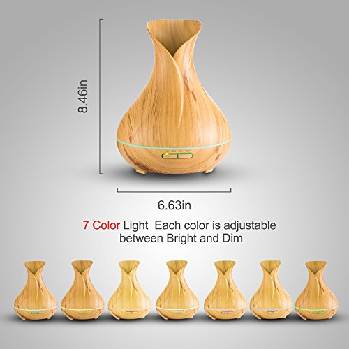 Essential Oil Diffuser, Lofoson 400ml Ultrasonic Aroma Essential Oil Cool Mist Humidifier with Adjustable Mist Mode Waterless Auto Shut-off for Home Office Living Room Baby Study Yoga Spa(7 Colors) by Lofoson (Image #1)