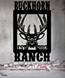 Buck Farm / Ranch / Lodge Custom Metal Sign 20w X 32h Deer Camp -Buck Whitetail Antlers - Metal Art - Handmade USA Hunters Sign Gift