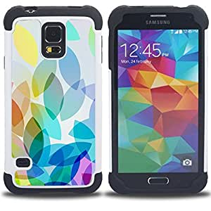 """SAMSUNG Galaxy S5 V / i9600 / SM-G900 - 3 en 1 impreso colorido de Altas Prestaciones PC Funda chaqueta Negro cubierta gel silicona suave (Hoja Hojas de otoño de la caída del patrón"""")"""