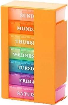 Pastillero pequeño para guardar pastillas, 7 días, caja para pastillas, dispensador para medicamentos, color naranja: Amazon.es: Salud y cuidado personal