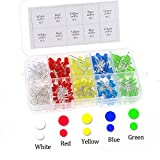 Glarks 300pcs 3mm and 5mm Assorted Color clear 2pin Diffused LED Light Emitting Diodes Electronic Parts with 5 Colors Kit