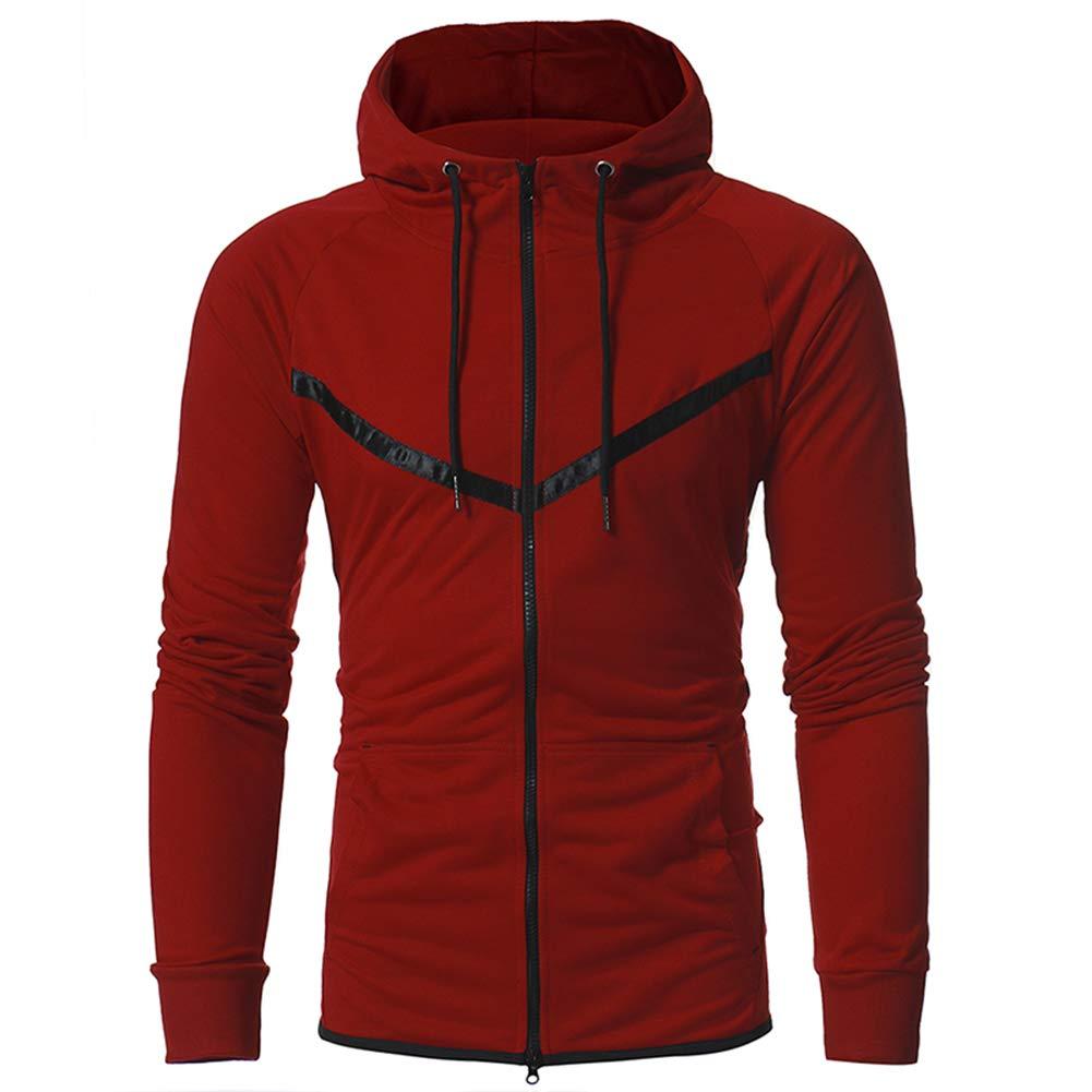 Yiwa Men Sports Style Fashion Drawstring Warm Zipper Jacket