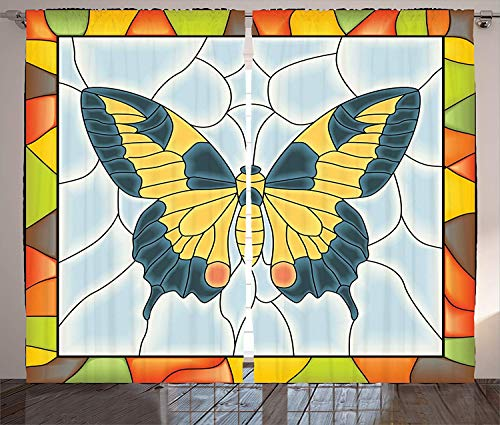 Curtains for Living Room Butterfly in Stained-Glass Window with Frame Wing Spring Garden Illustration Darkening Thermal Insulated Window Treatment Curtains 52 x 96 Inch, 2 Panels from Prime Leader