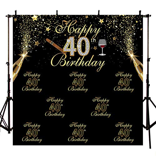 MEHOFOTO Black Photo Background Shining Gold Stars Champagne Cigar Man 40th Happy Birthday Party Banner Backdrops for Photography - Decorations Cigar