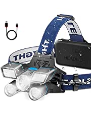 Headlamp Ultra Bright 21 LED Headlight Flashlight Work Light with Power Indicator 13000 Lumen USB Rechargeable Waterproof 9 Modes for Outdoor Camping Hunting Fishing Hiking Biking