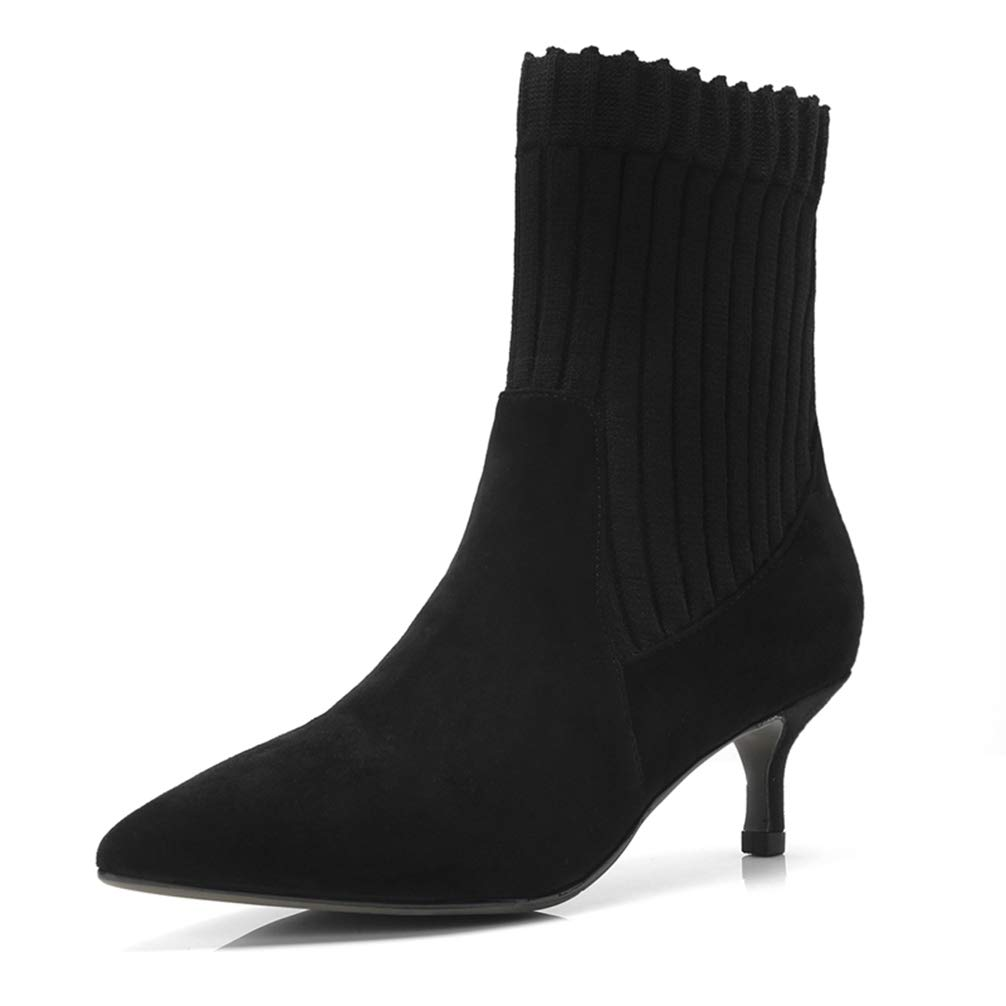 - T-JULY Ankle Boots for Women Med Heels Pointed Toe Autumn Winter Big Size 33-41 shoes Thin Heels Knitting Boots