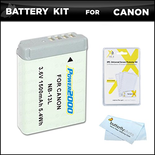 Battery Bundle Kit for Canon PowerShot SX720 HS, Canon G7 X Mark II, G7 X, G9 X, G5 X Digital Camera Includes Extended Replacement (1500Mah) NB-13L Battery + LCD Screen Protectors + Microfiber Cloth -  ButterflyPhoto, AMAZ24162