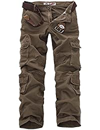 NiuZi Mens Loose Fit Cotton Casual Military Army Cargo Camo Combat Work Pants