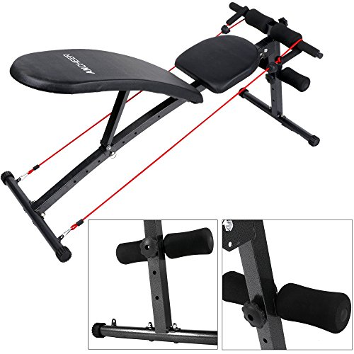 ancheer folding adjustable weight bench with 2 resistance