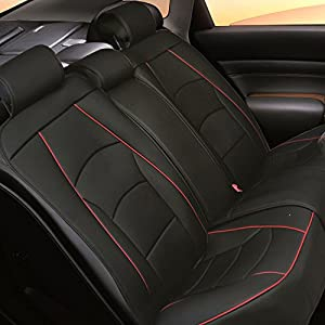 FH Group Ultra Comfort Leatherette Rear Seat Cushions (Airbag Compatible), Black Red Trim-Bench (PU205013BLACKREDTRIM)
