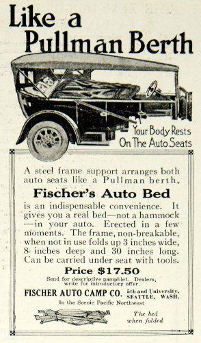 1918 Auto (1918 Ad Fischer's Auto Bed Camp Company Car Camping Seattle Washington - Original Print Ad)