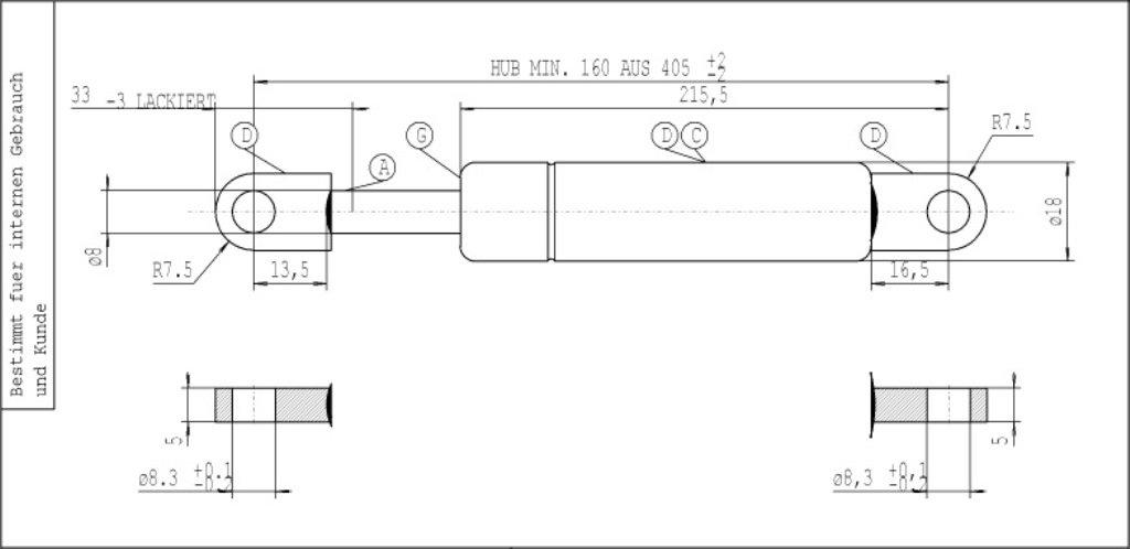 Stabilus 340000107 Molla a Gas Lift-O-Mat 084395