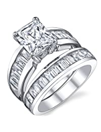 Metal Masters Co.® Sterling Silver 3 Carat Radiant Cut Cubic Engagement Ring Wedding Bridal Set Rings With CZ