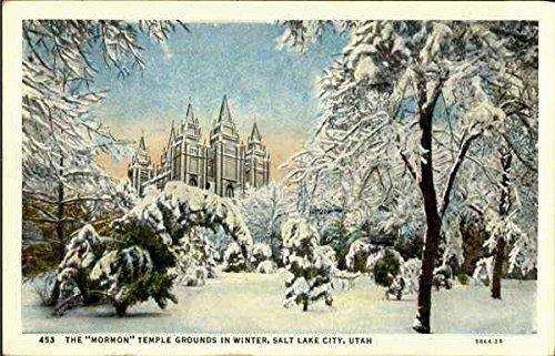 The Mormon Temple Grounds In Winter Salt Lake City, Utah Original Vintage Postcard