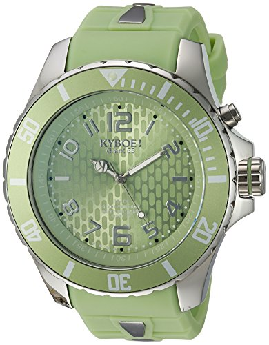 KYBOE! 'Power' Quartz Stainless Steel and Silicone Casual Watch, Color:Green (Model: KY.55-042.15)