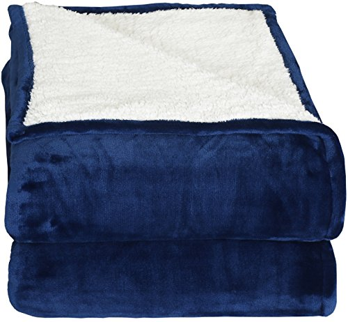 Sherpa Flannel Fleece reversible blankets (Queen)- Navy- Extra Soft Brush Fabric, Super Warm Bed Blanket, Lightweight cozy couch Blanket, Easy Care - by Utopia Bedding