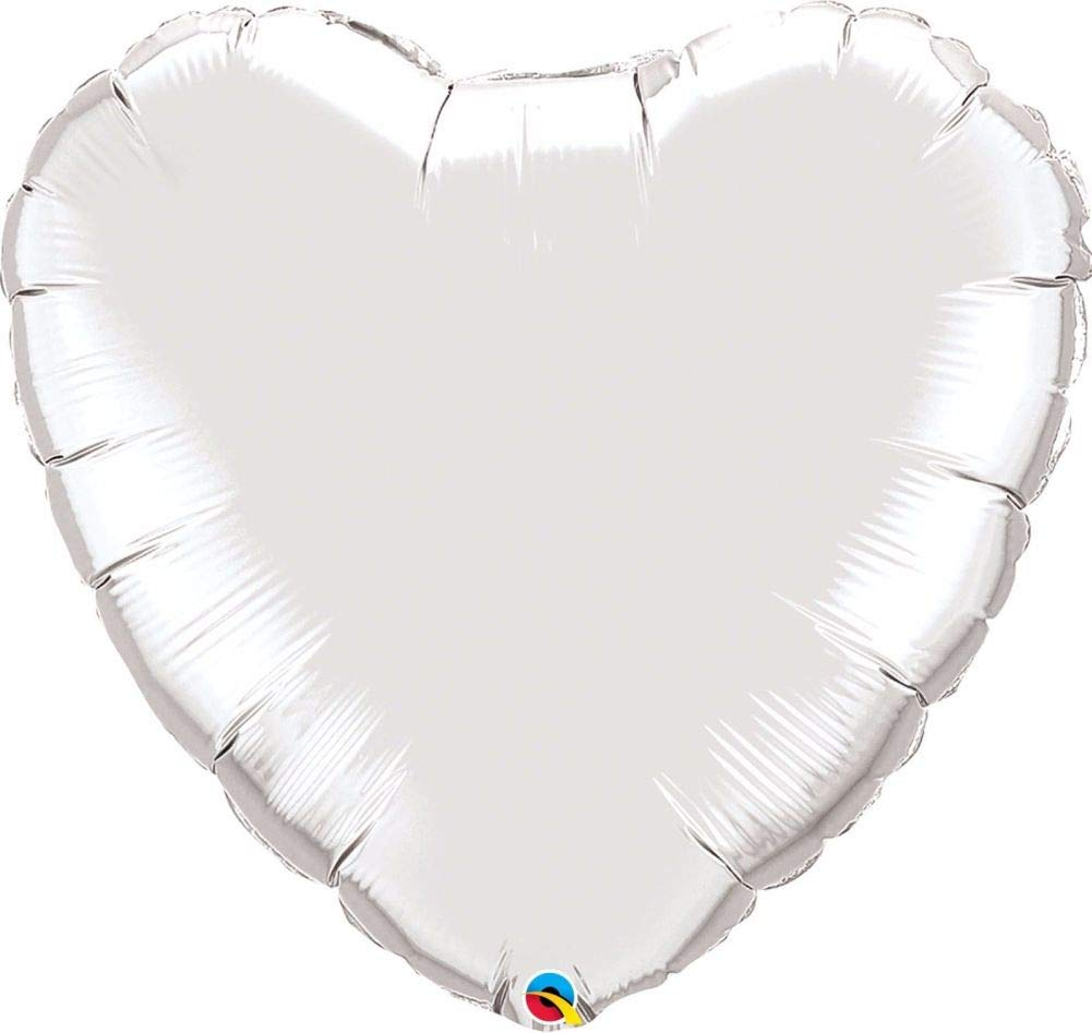 argent 9 (Pack Quantity1) NANA'S PARTY Qualatex Couleur Unie en Forme de cœur Feuille Décoration de Ballons de fêtes {Air Helium}, Rose or, 36 (Pack Quantity12)