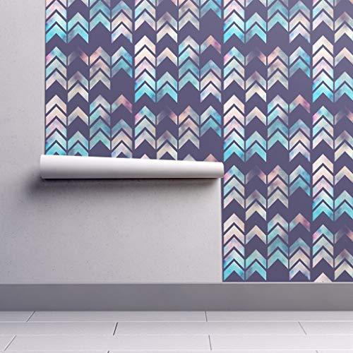 (Peel-and-Stick Removable Wallpaper - Purple Watercolor Arrows Modern Geometric Purple Chevron Tie Dye Arrow by Beththompsonart - 24in x 96in Woven Textured Peel-and-Stick Removable Wallpaper)