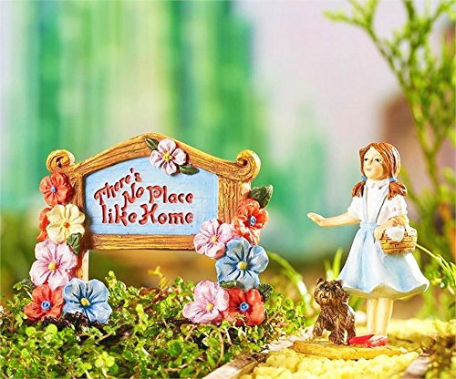 Dorothys Garden - My Fairy Gardens Miniature - WIZARD of OZ Dorothy with Toto & Sign - Mini Dollhouse Supply Expressions
