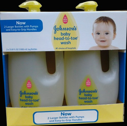 Johnsons Baby Head to Toe Wash 2 X 33.8 Oz Bottles ** Larger Easy Grip Pump Bottles.** Johnson' s 115195
