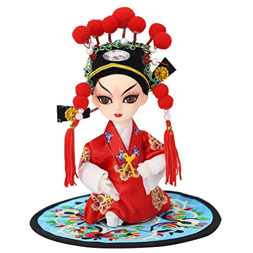 "JG.Eshadoll Antique Chinese Folk Art Peking Opera Doll Figures Groom Statue Handicrafts Mascots Souvenir for Xmas Gifts Home Office Hotel Decorative (Red-Bridegroom, 5"")"