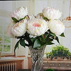 HoveBeaty Pink Peony Artificial Flower Bouquet Home Office Decor Weding Decorations (1 Bunch of 5 Flowers) 20