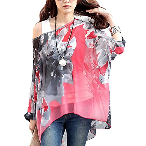 DJT Womens Batwing Sleeve Flower