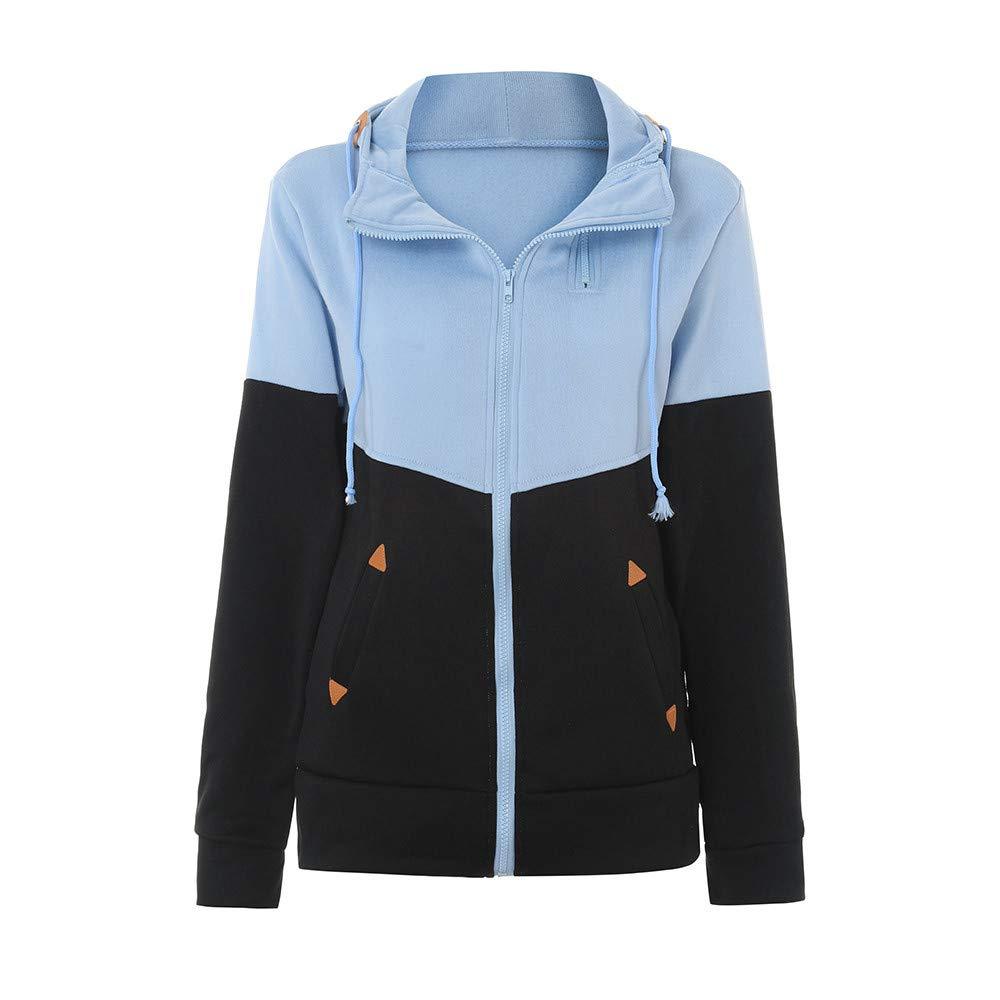 YANG-YI Plus Size Tops, Women Plus Size Zipper Hooded Loose Color Matching Pocket Sweatshirt Coat