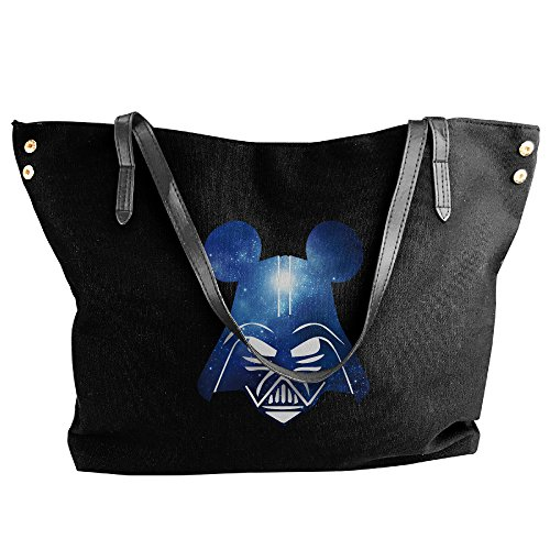 Mickey Dad Darth Vader Galaxry Wars Canvas Shoulder Bag Large Tote Bags Women Shopping Handbags (Darth Vader Purse)